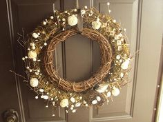 Grapevine Wreath - I really like the textures and uniqueness of the two wreaths together.