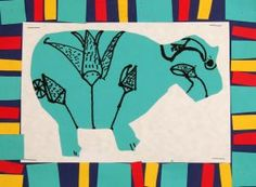 They learned that William, the cute blue hippo found in a tomb, was actually feared by ancient Egyptians. Students drew a hippo by combining large, simple shapes for the body, head, and legs.  They drew on the back.   A cut paper border of Egyptian colors was inspired by Egyptian artwork.
