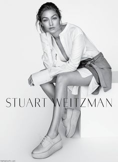 Gigi Hadid in Stuart Weitzman spring 2016 campaign. #stuartweitzman