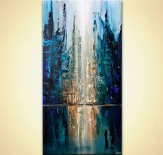 Abstract city painting – Original contemporary modern art by Osnat. Painting Name: City of Angels Size: 60 x 5 Medium: Acrylic on canvas, packed City of Angels is an abstract contemporary modern painting painted on a staple free page City Painting, Acrylic Painting Canvas, Abstract Canvas, Canvas Art, Painting Art, Acrylic Art, Pumpkin Painting, Blue Abstract Painting, Abstract Paintings