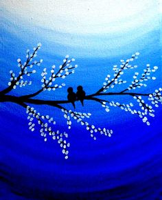 Love birds Original Acrylic canvas painting Birds on by PreethiArt