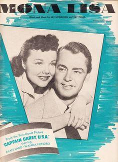 Mona Lisa 1949 Sheet Music Paramount Movie Captain Carey USA Alan Ladd Wanda Henrix