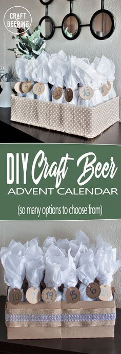 DIY Craft Beer Advent Calendar (multiple styling options). #craftbeeradventcalendar #diy #craftbeer #advent #calendar #adventcalendar #beeradventcalendar