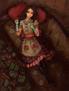 AMR dresses Fanart from Alice: Madness Returns. Fanart of AMR Dresses Alice Liddell, Lewis Carroll, Alice Madness Returns, Dollhouse Dresses, Were All Mad Here, Arte Horror, Adventures In Wonderland, Illustrations, Princesas Disney