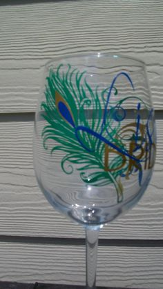 Personalized Peacock Wedding Party or Bachelorette Wine Glass