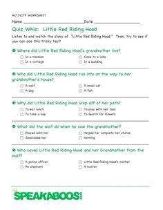 Quiz Whiz: Little Red Riding Hood | Speakaboos #Worksheets #quiz #education #kids #redridinghood