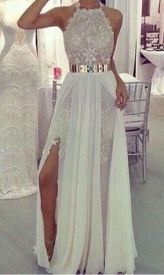Floor Length Lace Appliques Prom Dress Split Golden Belt Evening Dress