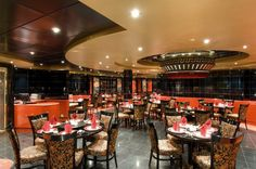 Luxury Chinese Style Restaurant Interior Design With Damask Chair And Black Round Table - Use J/K to navigate to previous and next images