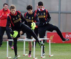 Synchronised training with Lucas Leiva, Philipe Coutinho & Luis Suarez at Melwood today. #LFC