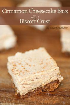 Cinnamon Cheesecake Bars with a Biscoff Crust!