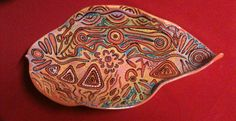 Aboriginal design platter - stoneware functional by Kgari on Etsy
