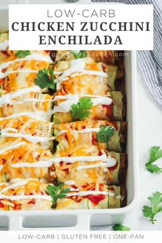 "This easy Low carb Chicken Zucchini Enchilada is made with ""zucchini tortillas"" and is loaded with enchilada sauce, chicken, and cheese. It's also healthy, gluten free and very flavourful! Healthy Dinner Recipes, Mexican Food Recipes, Low Carb Recipes, Diet Recipes, Chicken Recipes, Cooking Recipes, Low Carb Zucchini Recipes, Recipies, Zoodles Recipe Low Carb"