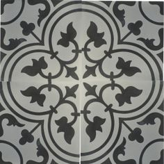 Decorative encaustic cement tiles, also known as Victorian, Moroccan, French, and hydraulic. Little Blue Trucks, Encaustic Tile, Blue Tones, Tile Patterns, Tile Floor, Flooring, This Or That Questions, Black And White, Handmade