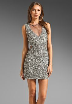 PARKER Cluster Beaded Cutout Dress in Silver at Revolve Clothing - Free  Shipping! Silver Dress e85bb54d4