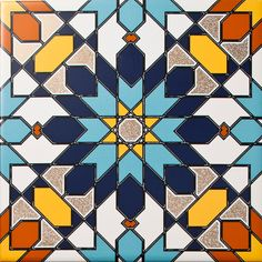 If you want to make a statement these Arabesque Almas Tiles are just what you're looking for! The striking design is made up of symmetrical geometric shapes which come together to create undeniable energy! Geometric Patterns, Geometric Tiles, Tile Patterns, Pattern Art, Geometric Shapes, Islamic Art Pattern, Arabic Pattern, Motifs Islamiques, Decoupage