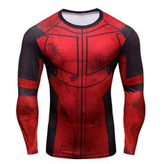 Fun Deadpool 3D Printed T-shirts Men Cosplay Costume Display Long Sleeve Compression Shirt Fit  Clothing  Tops Male
