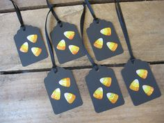 Candy Corn Gift Tags Halloween Gift Tags Black by SnowNoseCrafts, $3.50