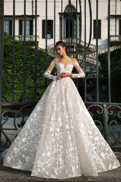 Off the shoulder long sleeve wedding dress - Milla Nova Wedding Dresses 2017 | itakeyou.co.uk #weddingdress #weddingdresss #wedding #bridalgown #weddinggown #weddinggowns #bridalgown #bridalgowns
