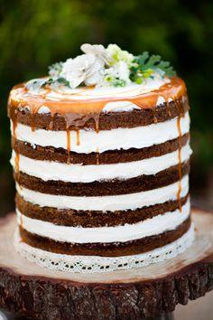 Naked cake with caramel