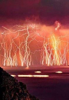 Lightning above the Catatumbo River in Venezuela