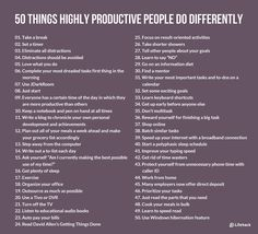TIME MGMT: 50 Things Highly Productive People Do Differently