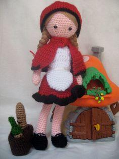 PATTERN Little Red Riding Hood Amigurumi Doll, Crochet Fairytale Doll DIY Toy - pinned by pin4etsy.com