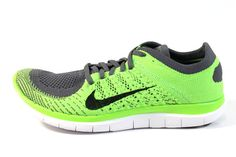 Nike Men's Free 4.0 Flyknit Electric Green/Grey Running Shoes 631053 003 #Nike #Mens #Electric #Running #Shoes  www.sneakerkingdom.com
