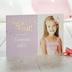 'Het is Feest!' Snoezig roze fotokaartje met goudfolie  Tadaaz #communie #foto #lentefeest