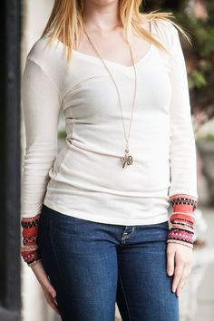 Cream Aztec Cuff Thermal | Layering Necklace | Cute and Cozy | Fall Fashion at Hoity Toity