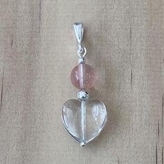 Recycled Crystal Heart  Cherry Quartz Pendant