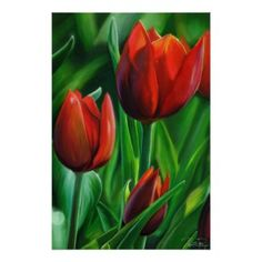 Trio of Red Tulips flower nature digital painting The Zazzle Perfect Poster (Glossy Finish) #red #tulip #flowers #painting #poster #glossy #nature #art #home #decoration #grass #beautiful #green #print