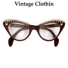 5b669cc5d2 Authentic Iconic 1958 Elsa Schiaparelli Lunettes Cats Eye Sunglasses in red  trimmed in