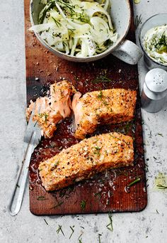 Salmon with Lemon and Ginger Rub, Fennel Salad and Dill Sauce