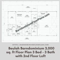 Beulah 3 Bed – 3 Bath – 3,000 sq. ft. with 2nd Floor Loft. We sell semi-custom Barndominium floor plans and provide helpful tips to design and build your home whether it is DIY or you are paying a company. #architecture #barndominiums #home #modernbarn #barnhomefloorplans #beautifulbarn #homefloorplan #barnhomedesign #housedesign #barndominiumfloorplans #floorplan #dreambarn #barnhouse #barndominiumliving #barndominiumdesign #loft #barnloft #secondfloor