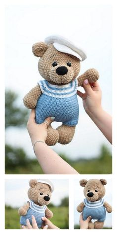 Educational and interesting ideas about amigurumi, crochet tutorials are here. Crochet Patterns Amigurumi, Amigurumi Doll, Crochet Dolls, Softies, Crochet Bear Patterns, Teddy Bear Clothes, Stuffed Animal Patterns, Free Crochet, Double Crochet