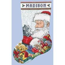 Design Works Santa with Kitten Stocking Counted Cross-Stitch Kit