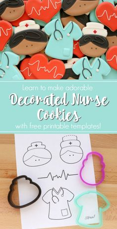 How to Make Decorated Nurse Cookies – The Sweet Adventures of Sugar Belle - Miller is Home Nurse Cookies, Iced Cookies, Royal Icing Cookies, Cupcake Cookies, Decorated Sugar Cookies, Nurse Cupcakes, Birthday Cookies, Sugar Cookie Decorating, Onesie Cookies