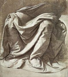 """Drapery study for a Seated Figure"" Gallery Print by Leonardo Da Vinci - ARTFLAKES.COM"
