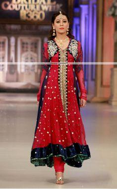 Latest Formal Collection 2013 Red Anarkali Pishwas