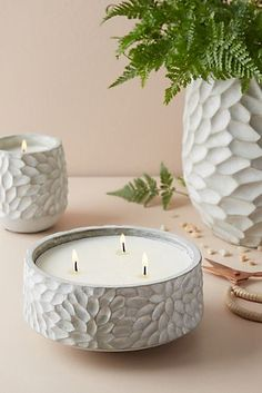 Anthropologie candles are the best - and this cement carved chrysanthemum vessel is so pretty! The citrus bergamot and white verbena pear scents are lovely, so refreshing and the three-wick soy candles burn forever! Pottery Painting, Pottery Art, Ceramic Pottery, Pottery Bowls, Clay Christmas Decorations, Cerámica Ideas, Keramik Design, Citronella Candles, Soy Candles