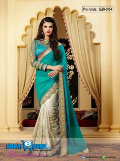 Style And Design And Pattern Would Be On The Peak Of Your Magnificence When You Attire This Off White & Pale Greenish Blue Faux Georgette, Net Saree. The Incredible Attire Creates A Dramatic Canvas With Extraordinary Dangler, Lace, Resham, Stones Work. Paired With A Matching Blouse  Visit: http://surateshop.com/product-details.php?cid=2_26_66&pid=7342&mid=0