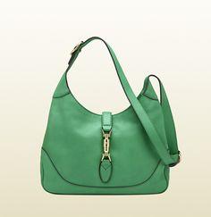 jackie jasmine green leather shoulder bag    medium size: W33cm x H22cm x D7cm