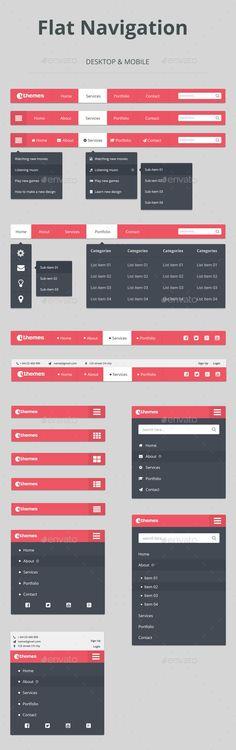 Flat Navigation - Navigation Bars Web Elements