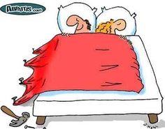 Dessins drôles : les couples au lit !