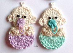 **Baby 1 St.** **Mein Häkelentwurf!**   ca: 3 x 5 cm   Gehäkelt aus 100% Baumwolle  Die Farbe können Sie selbst auswählen!!!  1. rosa 2. hellblau 3. flieder 4. türkis   *Teilen Sie...
