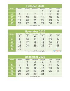 Free Printable 3 Month Calendar 2020 Oct Nov Dec PDF, Excel – Free Printable 2020 Monthly Calendar with Holidays 3 Month Calendar, Printable Calendar 2020, Excel Calendar, December Calendar, Calendar Templates, Printables, Shiva, Pdf, Holidays