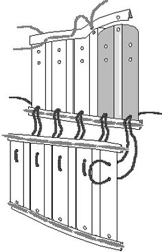 Proposed lacing system for the Great Palace lamellar, exploded. - Peter  Beatson
