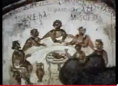 From the catacombs...early picture of Jesus with disciples.