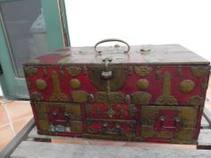 Antique Chinese Brass/Wood Document Box; Trunk; Jewelry Chest; Circa1900-1925