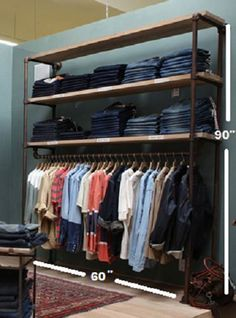 Clothing Garment Wall Rack 60 Wide Retail by WilliamRobertVintage-This is my current pick. Love love it!